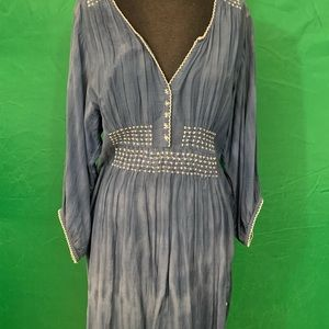 Blue Jean wash beach cover-up or dress, BoHo style